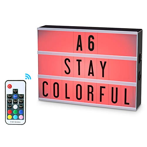 ROTEK Mini Light Box with 140 Letters,A6 size 7 Colors Remote-controlled Free Combination DIY LED Cinema Light Box for Wedding, Birthday,Halloween,Back to School Dorm Room Decorations, Party Decor Gif