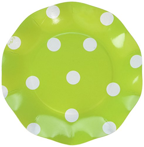 Sophistiplate Lime Green Polka Dot Paper Salad/Dessert Paper Plates - 30pk for Holidays, Parties, Showers, & Special Entertaining! Made in Italy]()