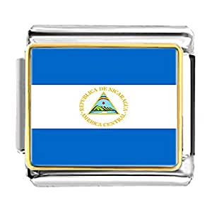 Chicforest Gold Plated Nicaragua flag Bracelet Link Photo Italian Charm