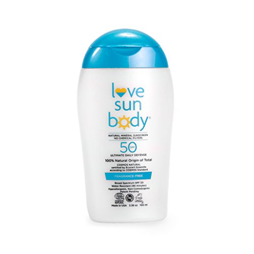 Love Sun Body 100% Natural Mineral Sunscreen SPF 50 Fragrance-Free 100 ml Reef-Safe with Non-Nano Zinc Oxide and Titanium Dioxide for Face and Body, Chemical-Free, Moisturizing, Water-Resistant