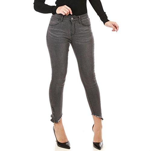 La Modeuse - Jeans Femme Coupe Skinny Effet dlav Gris Fonce