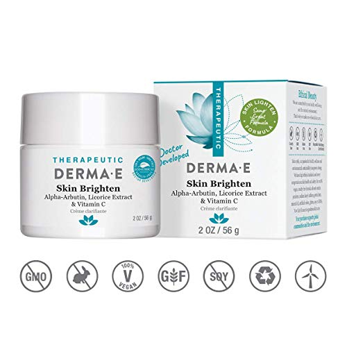 DERMA E Skin Brighten, Enriched with Licorice Extract and Alpha-Arbutin, Oil-Free Treatment, Blend of Skin-Brightening Herbs and Vitamins, 2oz