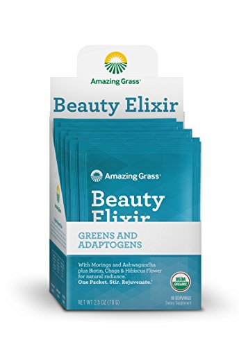 Powder Alkalizing (Amazing Grass Beauty Elixir, Greens and Adaptogens Organic Powder, 10 Count)