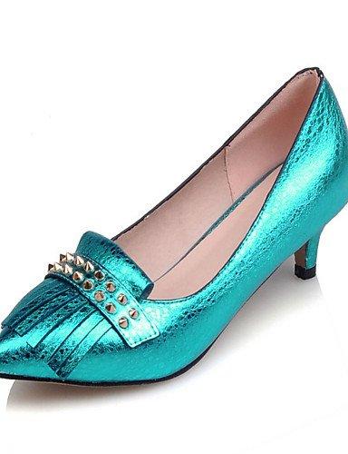 GGX/ Damenschuhe-High Heels-Büro / Kleid / Lässig-PU-Blockabsatz-Absätze / Spitzschuh-Blau / Gelb / Rot / Silber / Gold blue-us6 / eu36 / uk4 / cn36