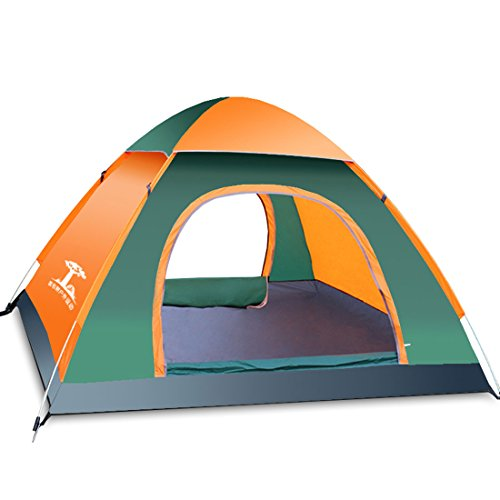 uxcell 3 Person Tent Camping Instant Tent Waterproof Tent Backpacking Tents for Camping Hiking Traveling(Orange and (Cabana Sun Club)