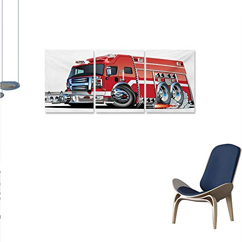 Cars Wall Paintings Big Fire Truck with Emergency Equipments Universal Safety Rescue Team Engine Cartoon Print On Canvas for Wall Decor 24