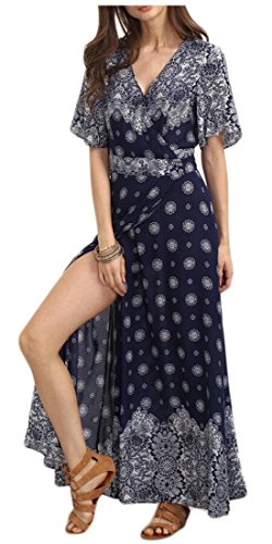 Side ainr Neck Sleeve 6 V Womens Long Print Dress Cocktail Split Bohemia Flower rwrX8q