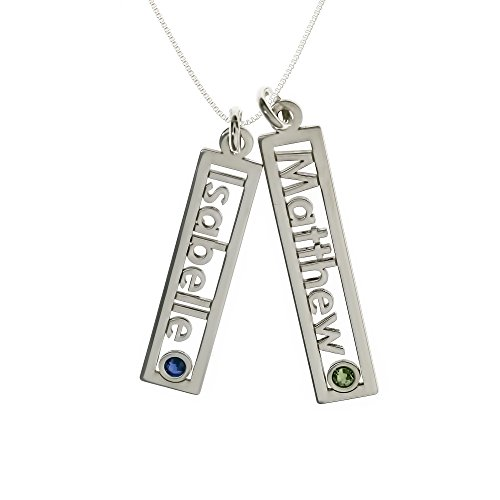Birthstone Double Charm - AJ's Collection Personalized Rectangle Double Open Name Sterling Silver Necklace With Birthstone Setting. Customize a Name Charm. Sterling Silver Cable Chain For All. Makes Great Birthday Gift.