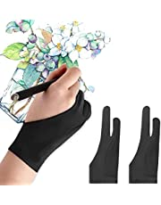 Mixoo Artists Gloves 2 Pack - PalmRejectionGloveswith Two Fingersfor Paper Sketching, iPad, Graphics Drawing Tablet, Suitable for Left and Right Hand (S)