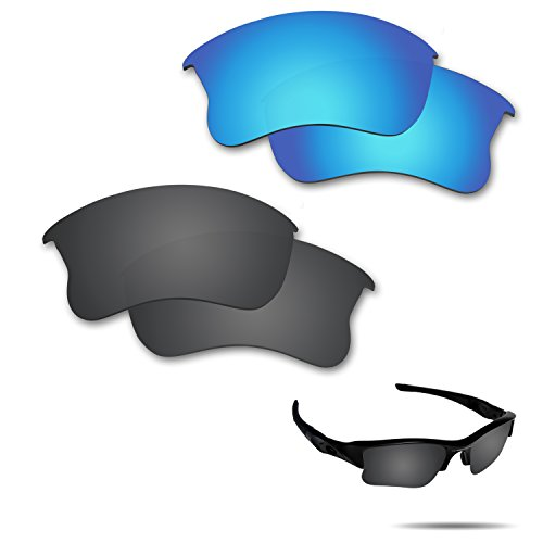 (Fiskr Anti-Saltwater Polarized Replacement Lenses for Oakley Flak Jacket XLJ Sunglasses 2 Pairs Packed)