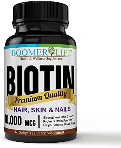 Biotin 10,000 mcg | Hair, Skin & Nails Extra Strength! - Non-GMO Fast Acting | Supports Hair Growth, Glowing Skin and More.