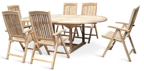 XXS® Gartengruppe Aruba aus Teak-Holz, 7 teilig, Garten-Tisch mit ...
