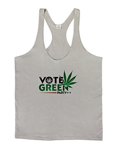 TooLoud Vote Green Party - Marijuana Mens String Tank Top - Light Gray - Small