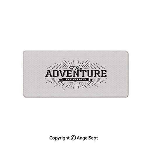 Large Mouse Pad with Nonslip Base, Thick, Comfy,Mat for Desktop, Laptop, Keyboard-Adventure,Retro Beginning of The Adventure Motivational Quote on White,16