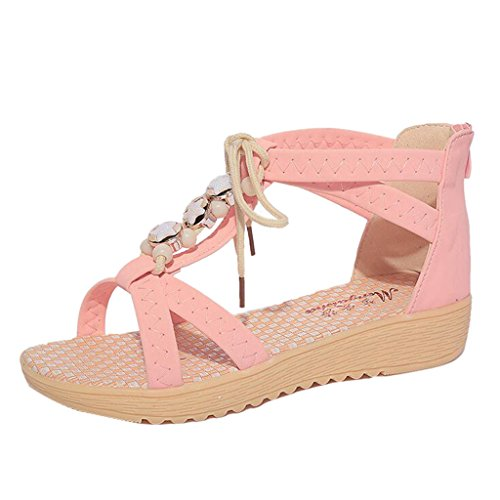 Binying Women's Roman Style Lace up Beaded Strap Flat Sandals Pink