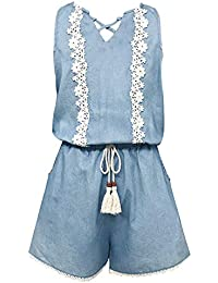 c42c219e3fe Big Girls Vintage Lace Trimmed Romper with Pockets (Many Options)