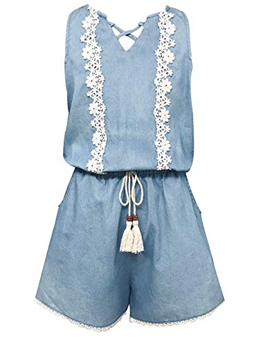 Smukke, Big Girls Vintage Lace Trimmed Denim Sleeveless Romper with Pockets, 7-16 (Denim, 14)