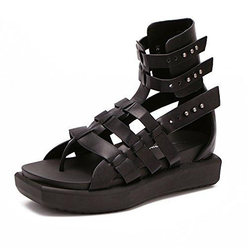 Xing Lin Sandalias De Mujer Nuevo Viento De Verano Sandalias Gruesa Playa Zapatos Femeninos Zapatos De Punta Hueca Correa Black (high help)