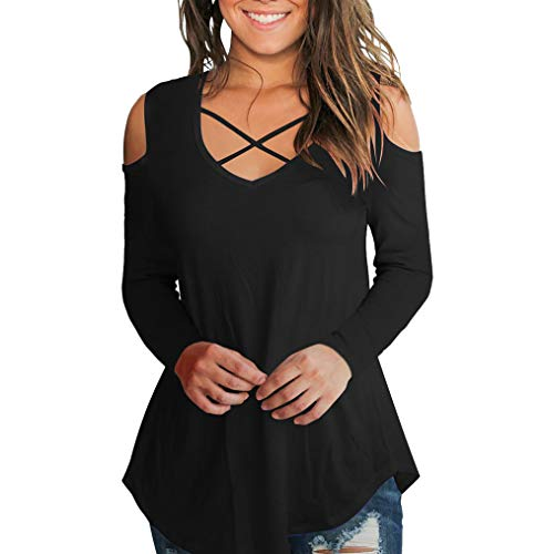 Plus Size Tops, Toimoth Womens Long Sleeve Casual Cross Tops Cold Shoulder T Shirt Tee Blouse(Black,L)