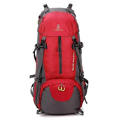 ZHUDJ Grande Capacità Esterna Impermeabile Sport Campeggio Escursionismo Zaino Da Trekking,Ruby