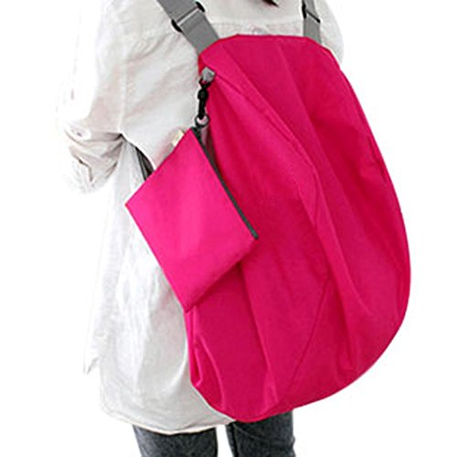 WITERY 2 Way Use Nylon Crossbody Foldable Travel Shoulder Storage Bag Handbag Backpack Rose Red - Louis Vuitton Sale Bags