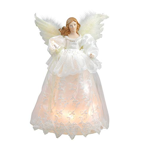 Kurt Adler Indoor 10-Light 14.5-Inch Ivory Angel Treetop (Ribbon Topper Tree Angel)