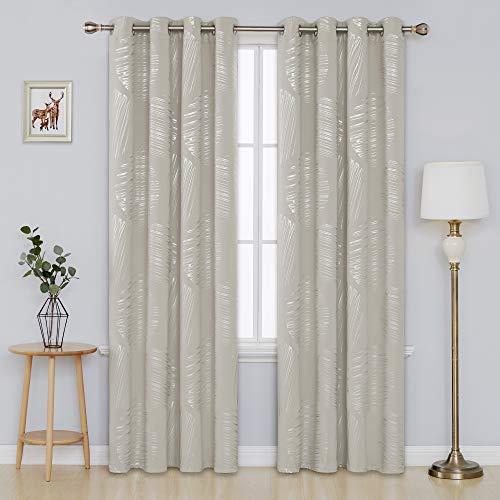 Deconovo Foil Print Room Darkening Drapes Blackout Curtains