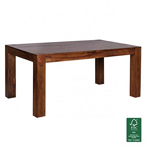 WOHNLING Esstisch Massivholz Sheesham 160 - 240cm ausziehbar Esszimmer-Tisch Design Küchentisch Landhaus-Stil Holztisch dunkel-braun Natur-Produkt Ausziehtisch XXL Massivholzmöbel Echtholz unbehandelt