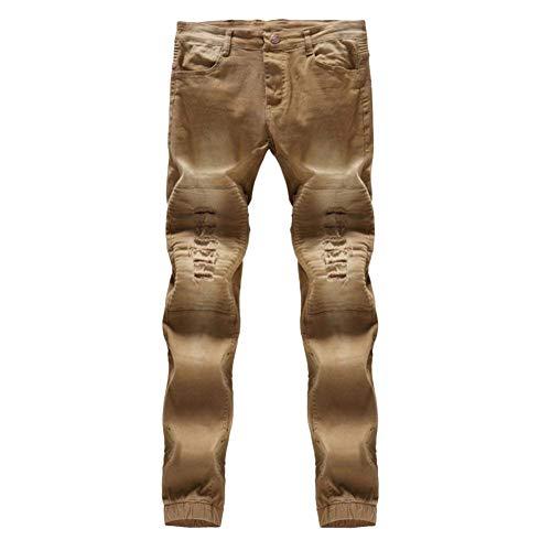 Giovane Uomo Con Kaki Effetto Fashion Vestibilità In Fit Elasticizzati Chern Jeans Saoye Fori Pantaloni Denim Invecchiato Slim EaTPqwznx