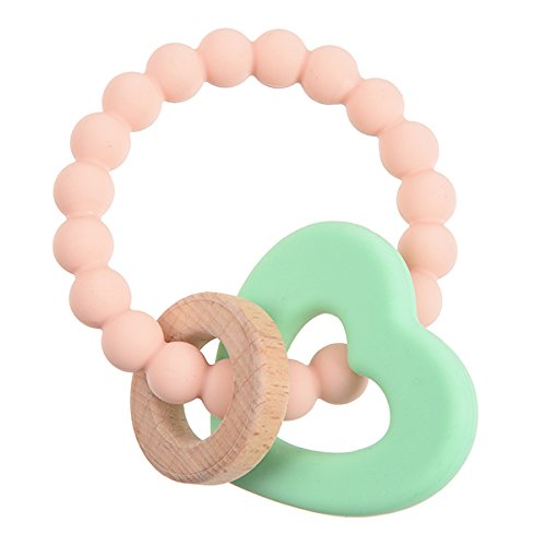 Chewbeads - Brooklyn Teether Baby Teething Toy (Baby Heart). 100% Infant Safe Chewable Silicone and Wood Teething Ring for Soothing Gums and Easing Pain from Emerging Teeth. BPA Free