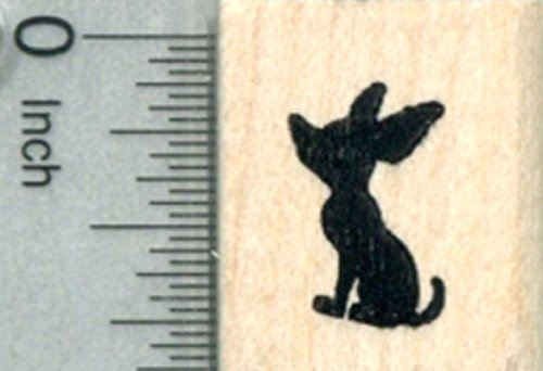 Tiny Chihuhua Dog Rubber Stamp, in Silhouette