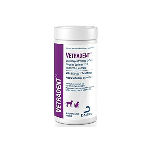 Vetradent Dental Wipes for Dogs & Cats w/Biotrate Technology 60c -