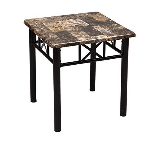 Adeco Adeco Side/End Table, Faux Marble Top, Black Metal Base, black metal frame, Marble looking top