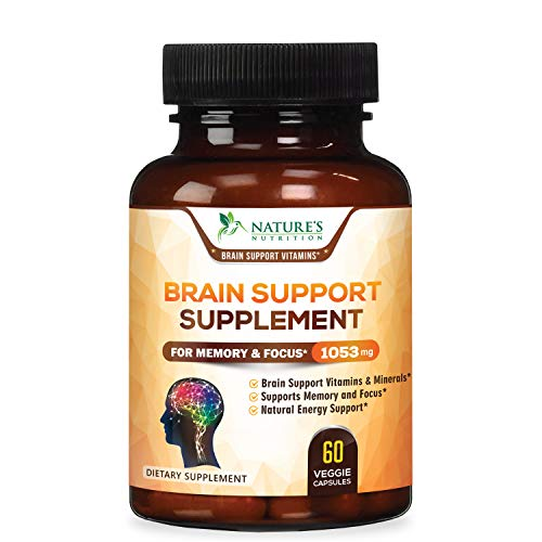 Brain Supplement 1053mg - Premium Nootropic Brain Support - Made in USA - Naturally Supports Focus and Clarity, Helps Memory, Assists Concentration with Dmae, Bacopa Monnieri - 60 Capsules