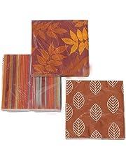 CasaJame Set van 3 gesorteerde servetten herfst bladeren strepen 60 stuks 3-laags 33x33cm