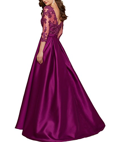 BONBETE Dresses Line Grape Neck Mother Prom the Bride V A of Grape Dresses Satin YYrqI