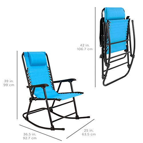 Best Choice Products Foldable Zero Gravity Rocking Patio Recliner Chair Light Blue