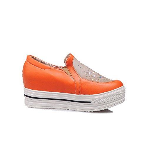 AllhqFashion Damen Weiches Material Ziehen auf Rund Zehe Mittler Absatz Rein Pumps Schuhe Orange