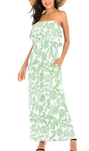 MIDOSOO Womens Summer Strapless Floral Party Dress Vintage Loose Beach Maxi Dress with Pocket-Green-XXL ()