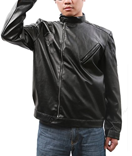 [Men's Stand Collar Moto Leather Jacket Coat Costume Zip Up Black XXL] (Metal Gear Solid 1 Snake Costume)