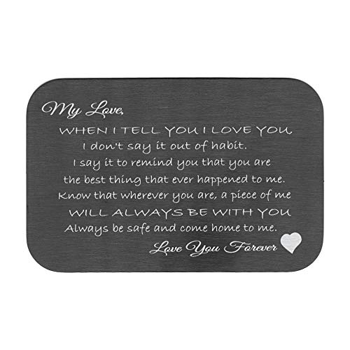 Love You Forever Engraved Metal Wallet Mini Love Insert Gift Note Card To My Love Husband/Wife]()