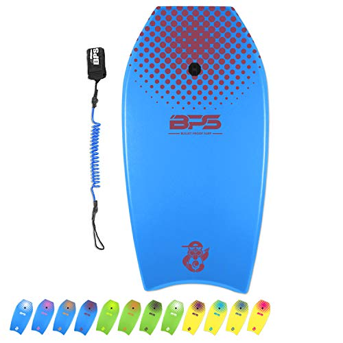 BPS Bodyboard 33in 'Green Machine' - Adds Balance Enhanced Speed Control Maneuverability Slick Body - Surfing Tricks Beach Summer Boogie Board for All Riders - with Black Strap Leash (Blue
