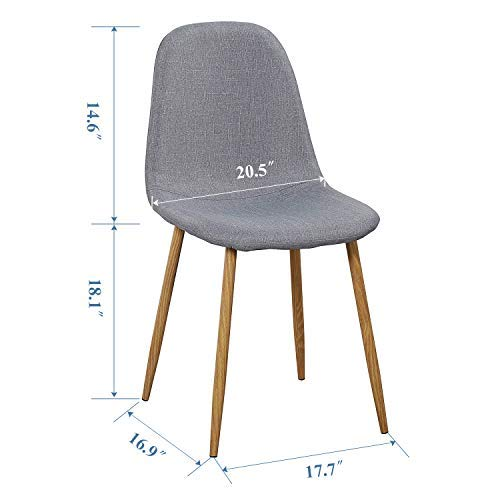 VECELO Dining Chairs for Kitchen/Dining/Living/Lounge Room, Fabric Cushion Seat Back Sturdy Metal Legs, Set of 4,Grey by VECELO (Image #4)