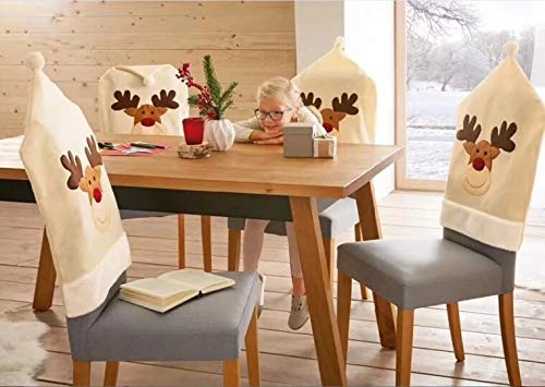 yuboo Christmas 3D Santa Dining Room Chair Covers, Chair Ornaments  Decorations for Christmas and New Year Party (3D Beige Elk)