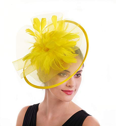 SAFERIN Fascinator Hair Clip Pillbox Hat Bowler Feather Flower Veil Wedding Party Hat Tea Hat (a-Yellow)