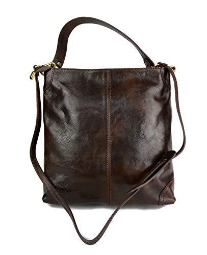 69ccae29cdd66 Bolso de de cuero bolso de piel de mujer marron oscuro bolso de espalda