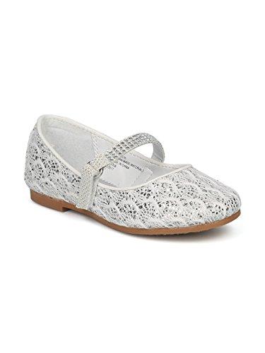 Alrisco Girls Glitter Lace Fabric Rhinestone Mary Jane Ballet Flat HE67 - White Mix Media (Size: Toddler 8)]()