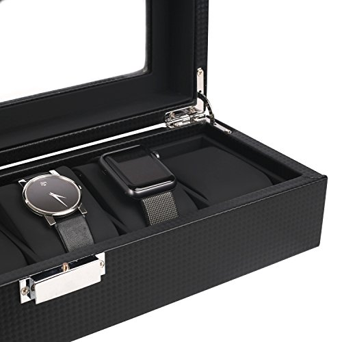 Mantello-6-Watch-Display-Box-Carbon-Fiber-Design-w-Glass-Top