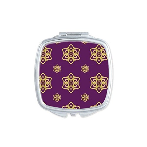 Kingdom of Thailand Thai Traditional Customs Purple Golden Weaving Decorative Pattern Satin Shrine Art Illustration Square Compact Makeup Pocket Mirror Portable Cute Small Hand Mirrors by DIYthinker