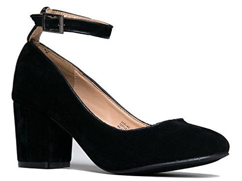 J. Adams Low Ankle Strap Heel - Wide Strap Block Heel - Round Toe Dress Shoe - Comfortable Trendy Strappy Low Heel - Darling